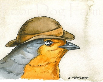 ACEO signed PRINT - Little UK Robin with hat