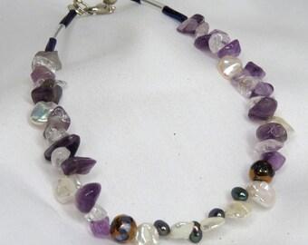Amethyst, Crystal, and Petal Pearl Bracelet