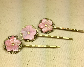 Gold and Blush Pink Floral Mother of Pearl and Swarovski Crystal Hair Pins -- Set of 3