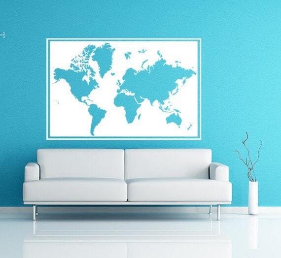 Framed World Map Wall Decal, Seven Continents vinyl decal, Vinyl Decal Wall Art Sticker