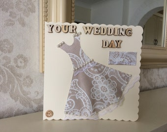 Your Wedding day card with dress detail.