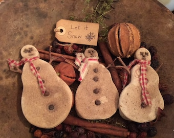Primitive Grubby Snowmen Bowl Fillers Let It Snow Set of THREE  Ornies  Cabin Early Look Cottage