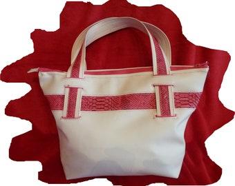 Fuchsia and ivory Tote style handbag