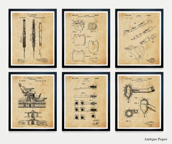 Dentist Patent Art - Dentist Poster - Dentist Wall Art - Dentist Office - Teeth - Tooth - Toothbrush - Dentist Chair - Dental - Dentist Art