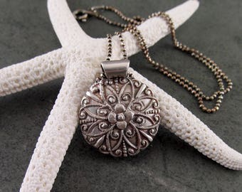 Silver medallion pendant, handmade recycled fine silver Victorian radiating flower necklace-OOAK