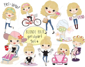 Blonde hair girl clipart set 4,girl stickers clipart instant download PNG file - 300 dpi