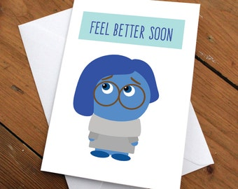 Feel better soon Sadness Card // pixar, cute, greeting card, get well, friendship, love