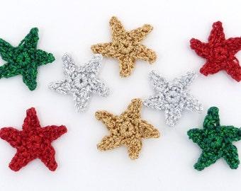 8 Christmas Crochet applique, handmade crochet stars embellishments
