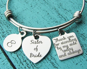 sister of the bride gift bride sister gift, bride sister bracelet bridesmaid gift, bride sister jewelry personalized wedding gift for sister