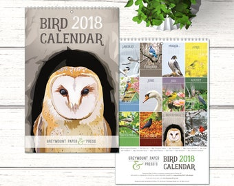 2018 Bird Calendar. Greymount Paper & Press's 2018 Wall Calendar. 2018 art calendar. Beautiful calendar with birds.