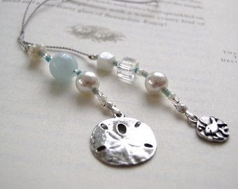 Book Thong Bookmark - Summer Serenity Sand Dollar and Fun Fish Bookmark - Aqua, Silver, and Pearl Beaded Book Thong with Pewter Charms