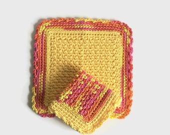 Crochet Dishcloth, Set of Two Yellow and Pink Dish Cloths, Cotton Washcloth, Handmade Wash Cloth
