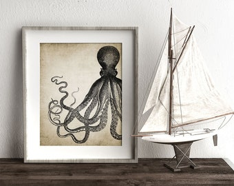 Octopus Wall Art Print, Rustic Bathroom Decor, Octopus Poster, Octopus Illustration, Marine Printable Art - Single Print #3 INSTANT DOWNLOAD