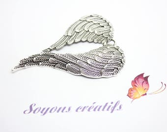 1 Charm - SK10046 - 69x47mm silver angel wing charm pendant