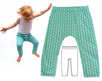 Harem Pants Pattern, Baby Leggings Pattern, Baby Pants Pattern, PDF Sewing Pattern, Baby Sewing Pattern, Pants pattern, size 0 to 6T, HENLEY