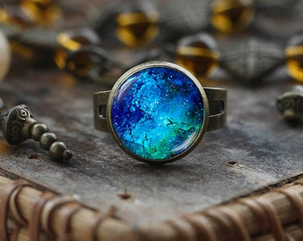 Deep Blue Nebula ring, Galaxy ring, Universe ring, Nebula ring, Blue ring, Space ring, Space Jewelry, Universe Jewelry