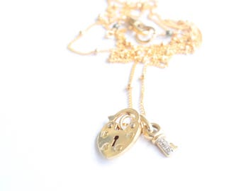 Gold Heart Locket and Diamond and Gold Key Handcrafted by Bare and Me on Etsy, Romantic Paris Heart and Lock Bridge Gesture for Her, Paris