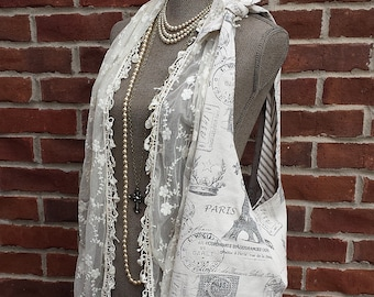 FRANCINE Large French Market Bag Paris French Stamp Gray Rhinestone Button Vintage Style Tote Shoulder Bag Messenger Slouchy Diaper Bag