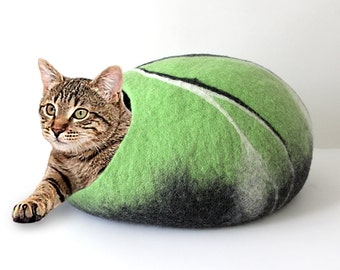 Cat Cave Felted Wool in Lime Green White and Black, pebble stone design, 100% natural eco pet house, wool felted cat cocoon, cat bed house