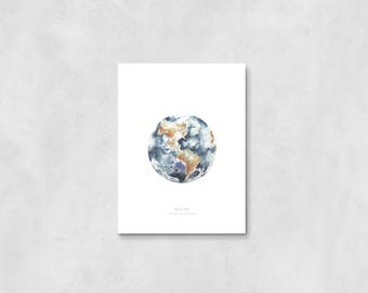 Earth Art Print, nursery decor, nursery art, wall art, wall decor, bedroom decor, home decor, watercolor painting, planet earth, earth art,