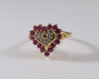10K Yellow Gold Ruby and Diamond Ring 8 1/4