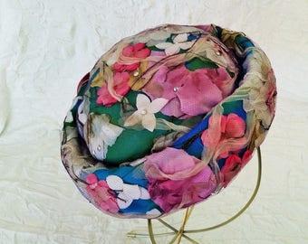 Vintage Tilt Hat, Floral Spring Tones - Net, Diamantes & Pearls, Bonwit Teller