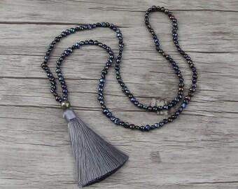 Black Freshwater pearl necklace Tassel pearl necklace Long pearl necklace black pearl necklace  bead tassel necklace Pearl jewelry NL-007