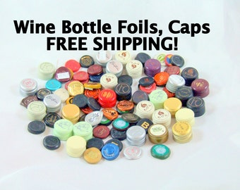100 Assorted Wine Bottle Foils and Screw Caps FREE SHIPPING