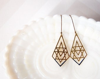 brass filigree geometric dangles with deep teal enamel detail- modern boho