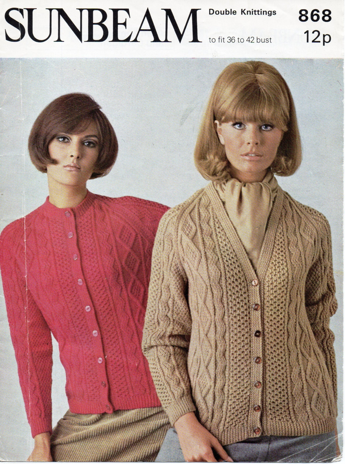 womens aran cardigans knitting pattern cable jackets 1970s v neck ...