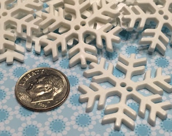 5 Large flat snowflake buttons, 30 mm (B2)