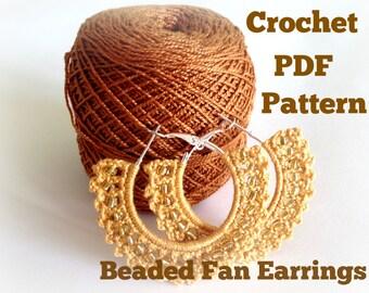 Crochet Pattern Beaded Fan Earrings, Digital Download, PDF Crochet Pattern, Crochet Earrings Pattern, Crochet Jewelry Pattern, PDF Tutorial