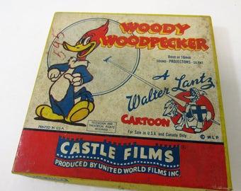 Vintage 8mm or 16mm silent movie , Woody Woodpecker  , Castle Films , Walter Lance Cartoon , vintage box , United World Films
