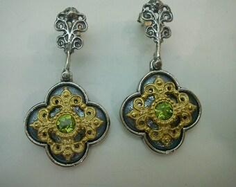 Peridot and silver byzantine post earrings