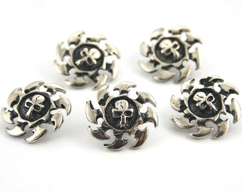 20 pcs.Zinc Silver Metal Skull Rowel Head Metal Rapid Rivet Stud Conchos Decor Diy Crafts Fashion Accessories Jewelry Sizes 20 mm. SK N20 31