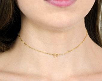Small Circle choker Necklace, Dainty Circle Choker, Chain Choker in 14kt Gold Filled, Circle Ring choker necklace gift for her dainty choker