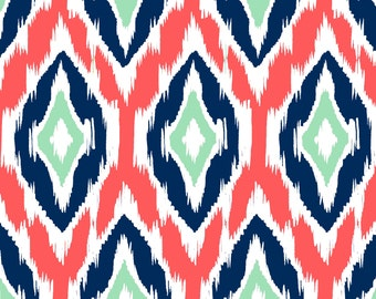 Ikat Fabric by the Yard -  Coral, Navy, and Mint