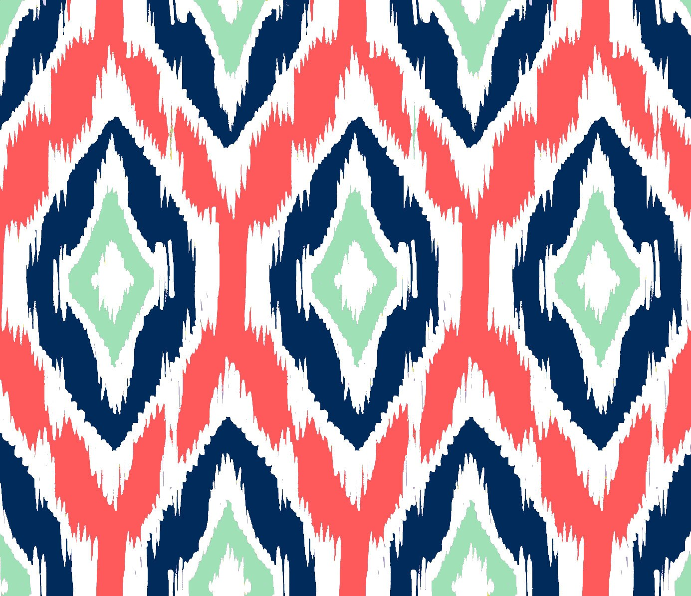 Ikat Fabric by the Yard Coral Navy and Mint