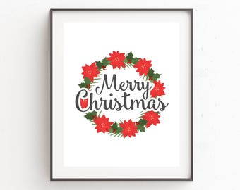 Merry Christmas Flowers Poster