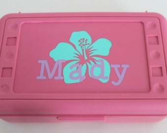 Personalized Flower Kids Pencil Box, Craft Box, Pencil Case, Back to School, Vinyl Pencil Box