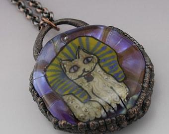 SRA Lampwork Pendant Electroformed Jewelry Copper Necklace Egyptian Cat Rustic Necklace Handmade OOAK Art Glass Heather Behrendt 6055