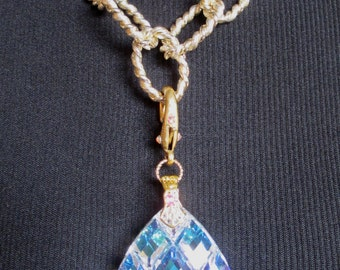 Large Crystal Prism Necklace Gold Tone Chunky Chain Adjustable