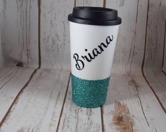 FREE SHIPPING, Personalized Mug, Custom Travel Mug, Glitter Travel Mug, Personalized Gift, Coffee Cup, Coffee Mug, Travel Mug Gift, Friend