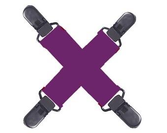 MITTEN CLIPS - PURPLE Elastic - Strong Grip...Non-Metal Plastic Clips