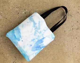 watercolor design tote bag, blue watercolor art bag, art shopping bag
