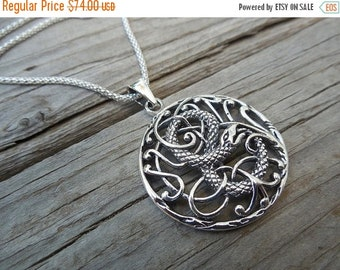 ON SALE Serpent necklace, the garden of Eden, handmade in sterling silver