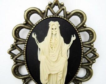 Pendant necklace cameo retro vintage Santa Muerte Catrina dia los muertos halloween rockabilly pin up 40 x 30
