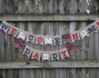Welcome Home Banner / Deployment Banner / Custom Burlap Banner