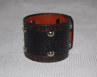 """Leather cuff bracelet 2"""" wide hand tooled, medieval theme"""