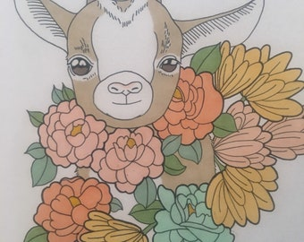 And The Cycle Repeats Itself. Original drawing of a goat with floral elements. 11x14in unframed